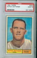 1961 topps psa 9 #332 Dutch Dotterer Washington Senators