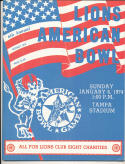 1974 Lions American north south bowl nm Football Program