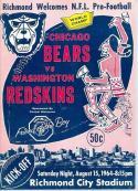 1964 Bears Redskins football Program richmond City