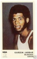 1972 Icee bear card  Kareem Abdul Jabbar Bucks nm