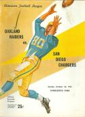 10/22 1961 Oakland Raiders vs San Diego Chargers AFL Football Program