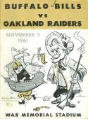 11/5 1961 Buffalo Bills vs Oakland Raiders AFL Football Program em