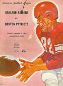 12/9 1961 Oakland Raiders vs Boston Patriots  AFL Football Program em