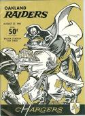 8/27 1961 Oakland Raiders vs San Diego Chargers AFL Football Program