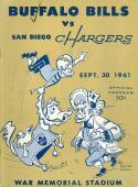 9/30 1961 Buffalo Bills San Diego Chargers AFL Football Program em