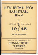 1945 new Britain Pros Basketball Official Score Card    bx cg1