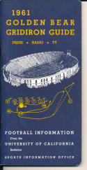 1961 Golden Bear Gridiron College Football Press media Guide      bx cg2
