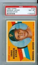 1960 topps Manuel Javier Pittsburgh Pirates Rookie Star Mt #133 psa 8