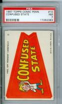 1967 topps comic pennant #10 Confused state psa 7