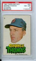1967 topps red sox george thomas sticker #22 psa 8
