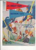 Los Angeles Rams vs Baltimore Colts 12/5 1953 em football program