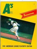 1981 Athletics Royals ALCS championship program