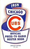 1959 Chicago Cubs regular Press roster press media guide nm  (bx bb guide)