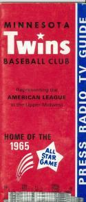 1965 Minnesota Twins press media guide em