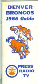 1965 Denver Broncos Press Media Guide ex (tape )