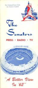 1962 Washington Senators press media guide em  (bx guide60)