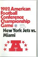 1982 AFC Championship Game Jets Dolphins Football Guide nm - bx ft pro guide
