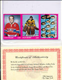 1973 3 card strip Henri Richard, Gilles Meloche, Golden Seals Topps Proof cards