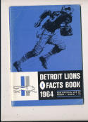 1964 Detroit Lions NFL  press media guide em