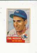 1953 Topps signed 114 Phil Rizzuto New York Yankees