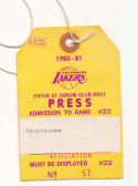 Lakers 1980-1981 Forum club only press pass - schedule on back