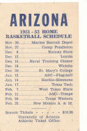 University of Arizona Basketball 1951-52 Pocket Schedule em
