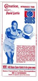 1968 David Lattin Phoenix Suns Carnation card