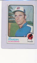 Jim  Hardin Atlanta Braves  Signed 1973  Topps baseball #124