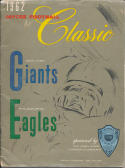 1962 Jaycee Classic Giants vs. Eagles Princeton New Jersey Program