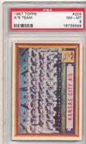 1957 topps A's Team #204 psa 8