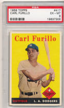1958 topps Carl Furillo los angeles dodgers 417 psa 6
