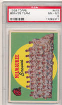 1959 topps braves team 419 psa 8