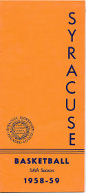 1958 Syracuse University Basketball Press Media guide