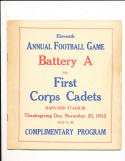 11/25 1915 Battery a vs First Corps Cadets WWI Football Program