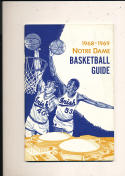1968 - 1969 Notre Dame Basketball press Media guide bkbx2