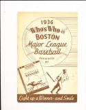 1936 Boston Red Sox whos who Yearbook em