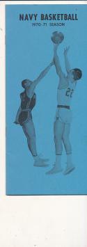 1970 - 1971 Navy University Basketball press Media guide bx70