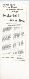 1970 - 1971 Humboldt University Basketball press Media guide bx70