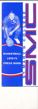 1970 - 1971 Saint Mary's college Basketball press Media guide bx70