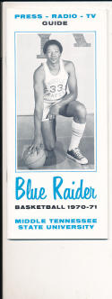 1970 - 1971 Middle Tennessee State University Basketball press Media guide bx70