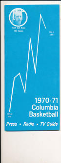 1970 - 1971 Columbia University Basketball press Media guide bx70