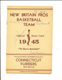 1945 New Britain Pros Basketball signed program 5 players!