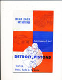 1957 Detroit Pistons NBA Press & Media Guide