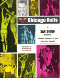 1968 2/13 Chicago Bulls vs San Diego Rockets unscored basketball program