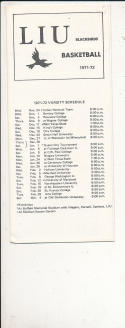 1971 - 1972 Long Island University  Basketball guide & schedule