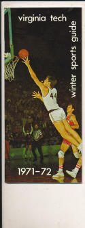 1971 - 1972 Virginia Tech Basketball press Media guide