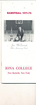 1971 - 1972 Iona college Basketball press Media guide