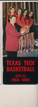 1971 - 1972 Texas Tech Basketball press Media guide