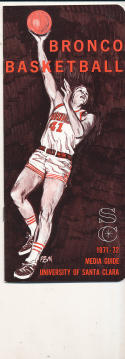 1971 - 1972 Santa Clara Basketball press Media guide