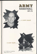 1971 - 1972 Army Basketball press Media guide